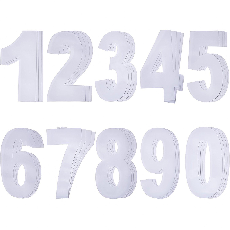 Pangda Grande Autoadesiva Wheelie Bin Numeri Adesivi, Bianco Numeri da 0 a 9, 17,5 cm da 9,5 cm, 40 Pezzi