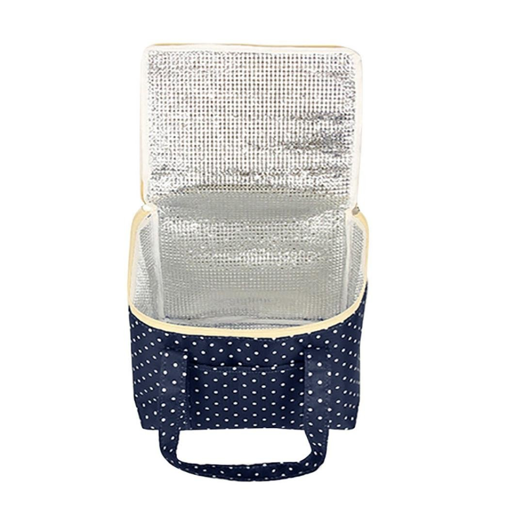 Clearance Deal! Hot Sale!Lunch Bag, Fitfulvan Insulated Cold Canvas Stripe Picnic Carry Case Thermal Portable Lunch Bag (Navy)