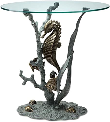 SPI Bronze Finish Seahorse Glass Top End Table