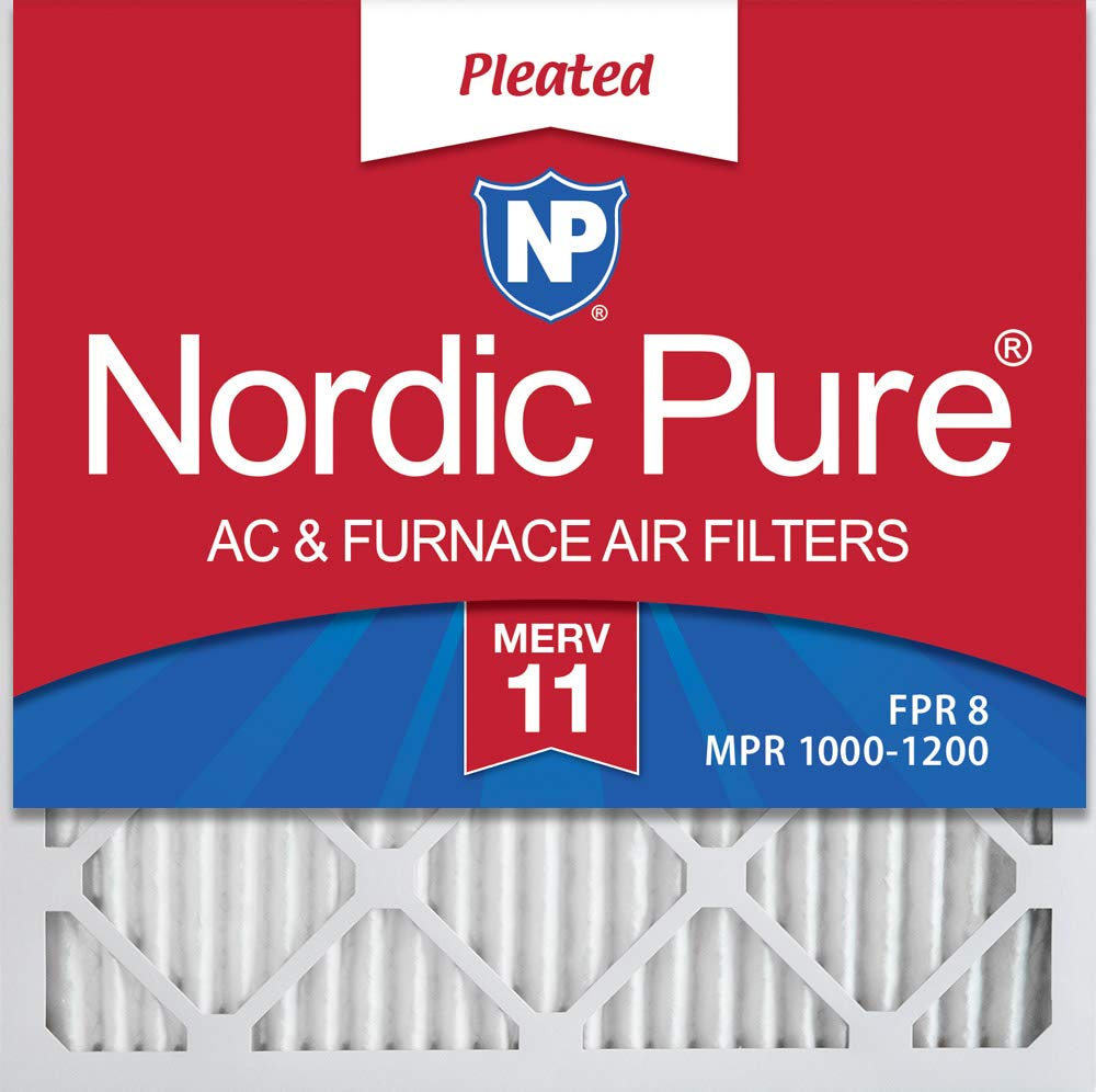 MERV 11 Pleated AC Furnace Air Filters 3 Pack Nordic Pure 24x24x1 23/_3//8x23/_3//8