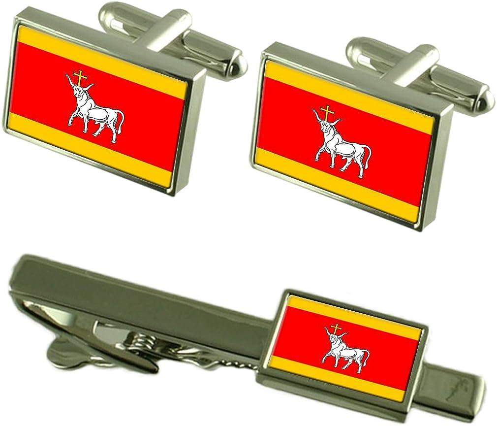 Kaunas City Lithuania Flag Cufflinks Tie Clip Box Gift Set