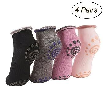 WINOMO 4 Pares de Calcetines Antideslizantes Yoga Pilates Calcetines Deportivos Antideslizantes para Mujeres Calcetines Deportivos Antideslizantes: ...
