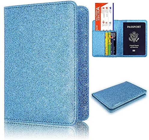 TZY Professional Passport Holder Cover Luxury Passport Cover For Women Men Leather Passport Wallet Ticket Hold Credit Card Blue RFID10002