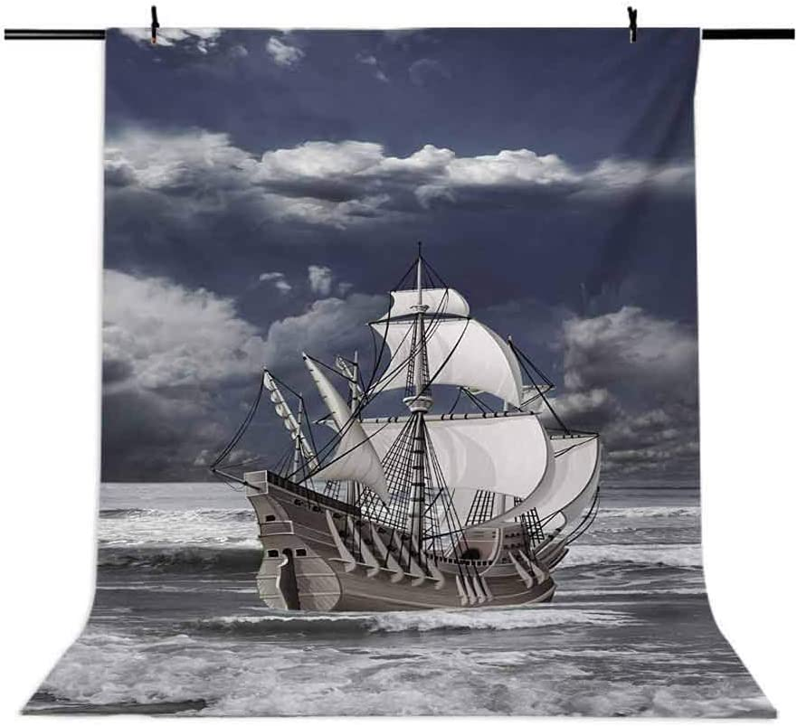 Cloudy Sky Caribbean Pirates Ship Oil Print Like Art Image Background for Baby Shower Bridal Wedding Studio Photography Pictures Blue Grey Pale Grey and Whit Landscape 6.5x10 FT Photography Backdrop