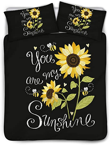 Uniceu 3 Pieces Florals Bedding Set Sunflowers Honeybees On The Black You Are My Sunshine Printed Duvet Covers Set With 1 Duvet Cover 2 Pillow Shams Twin Black Home Kitchen