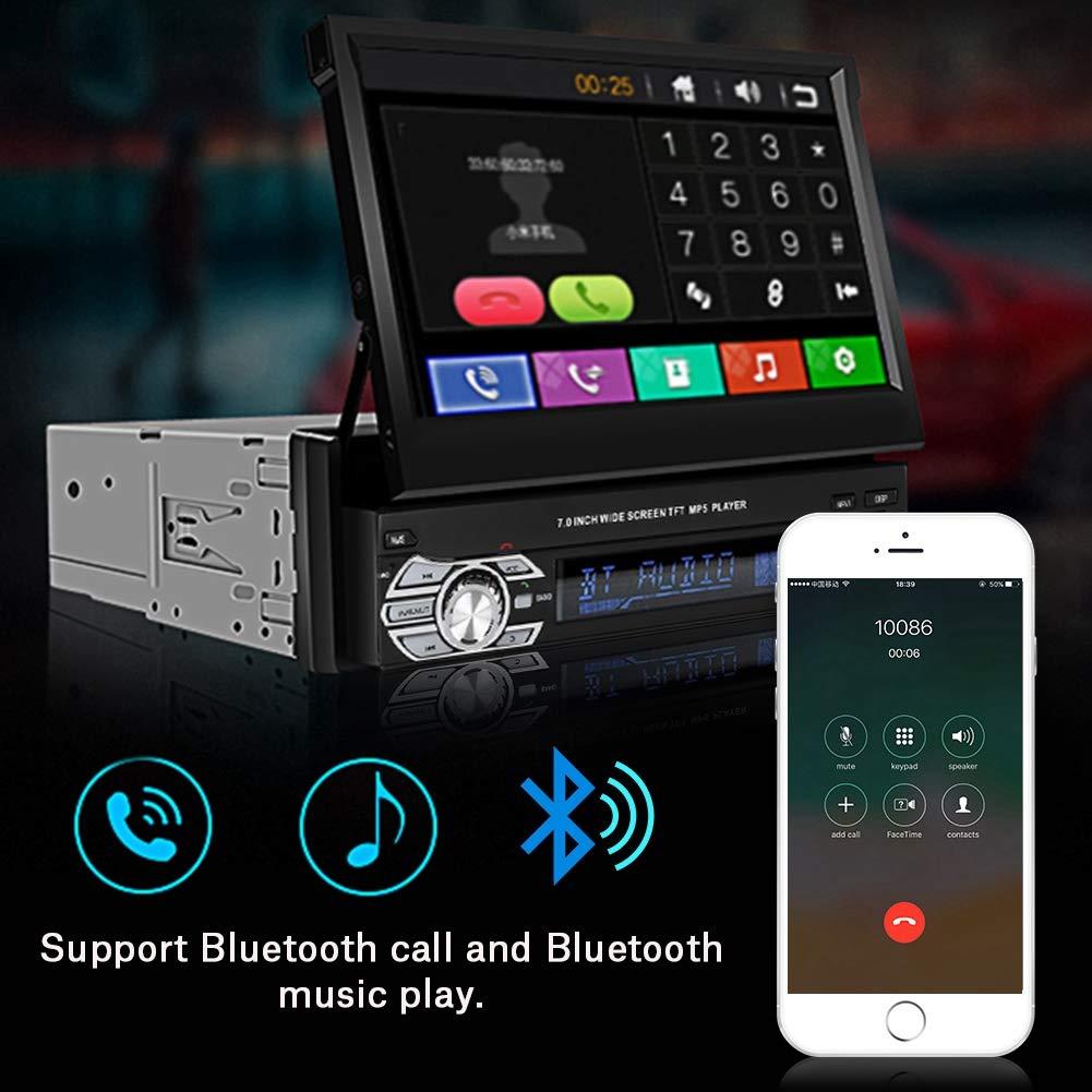 4-Luce Telecamera di retromarcia 7In HD Touch Screen Telescopico per Auto Stereo-Single DIN Bluetooth MP5-9601G con GPS Supporto TF Card ASHATA MP5 Car Player