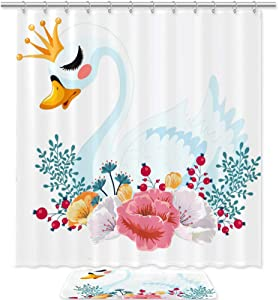 Cartoon Swan Shower Curtain Set High Drape Waterproof Bathroom Rod Decoration with 12 Plastic Hooks 72x72in/20x30cm