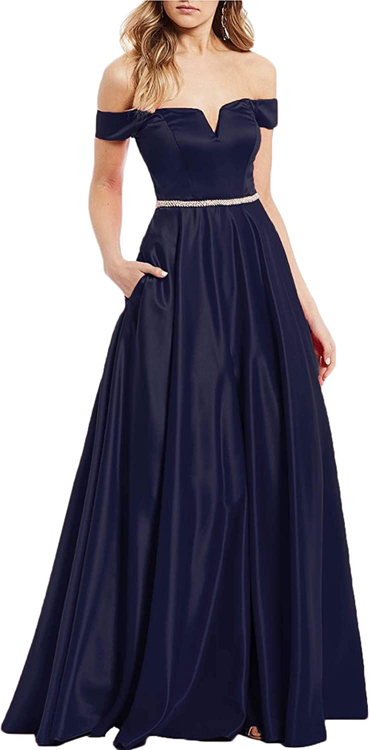 Navy bluee Rmaytiked Off The Shoulder Beaded Prom Dresses Long 2019 Satin A Line Formal Evening Ball Gowns with Pockets