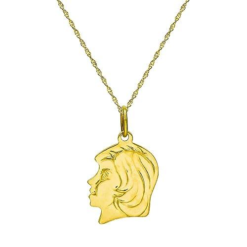 0b4fb25d720e Pyramid Jewelry 14 K Amarillo Oro Chica Colgante Collar - 0,8 mm ...
