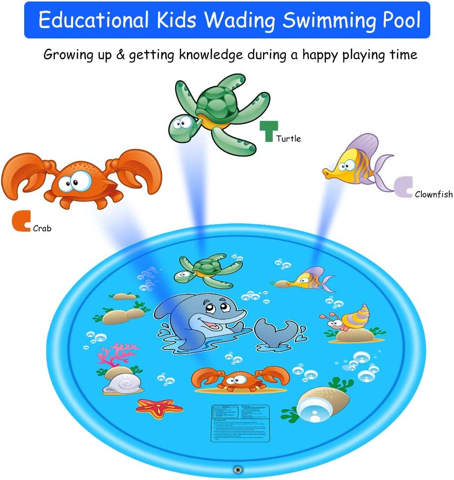 Outdoor Water Play Mat Kiddie Baby Wading Swimming Pool for 3 Years or Older Baby and Toddler Kids Splash Pad Sprinkler Pad Outdoor Inflatable Sprinkler Water Toys 68 Sprinkler for Kids OLLIVAN
