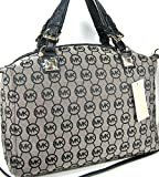 Michael Kors MK Circle Logo Purse Calista Large Satchel Black Beige Hand Bag