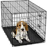 OxGord 30-Inch Double-Door Metal Folding Pet Crate with Divider