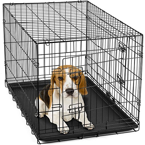 OxGord-30-Inch-Double-Door-Metal-Folding-Pet-Crate-with-Divider
