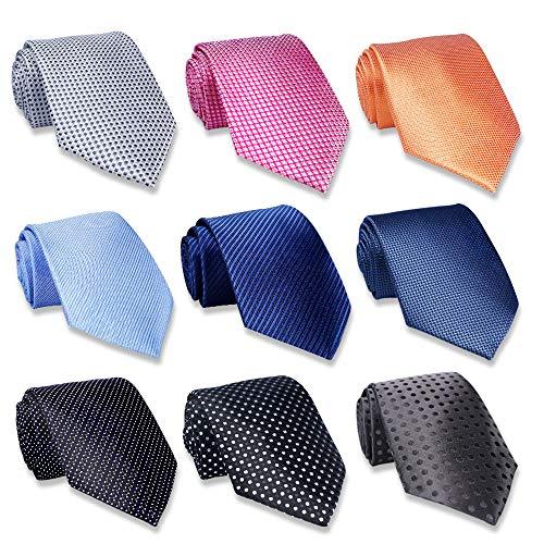 AVANTMEN 9 PCS Classic Men's Neckties Woven Jacquard Neck Ties Set (9 Pack-style C)