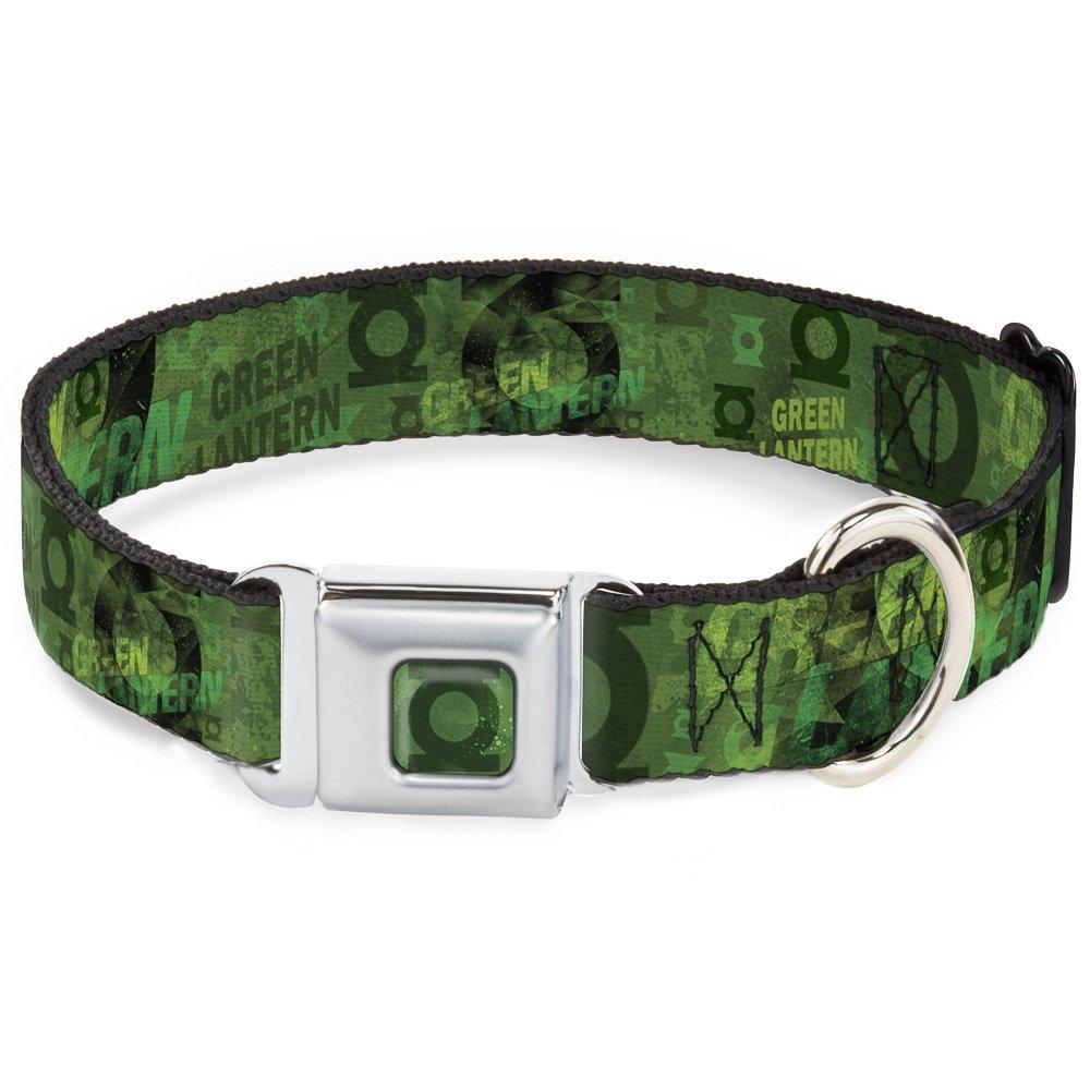 Buckle-Down DC-WGL012-WS Green Lantern Seatbelt Buckle Dog Collar, 1.5  Wide-Fits 13-18  Neck-Small