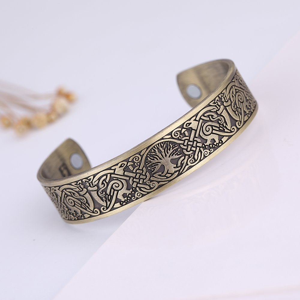 EUEAVAN Viking Tree of Life Raven Crow Talisman for Protection Cuff Bracelet for Easing Fatigue,Blood Circulation