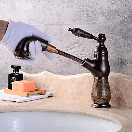 G Makej Basin Faucet European Retro Marble Water Mixer Taps Swivel 360 Degree Pull Out Single Handle R
