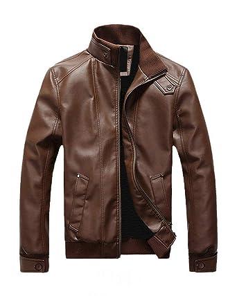 Chaqueta para Hombre PU Art Leather Chaqueta Biker Color ...