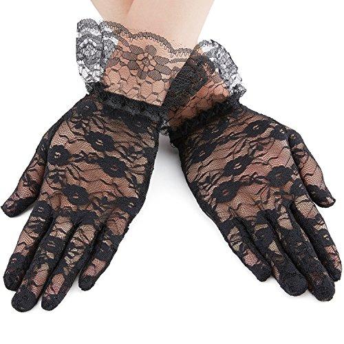 1920s 30s Short Lace Gloves,Vintage Sheer Flora Stretch Length Gloves for Wedding,Evening Prom Party,Black