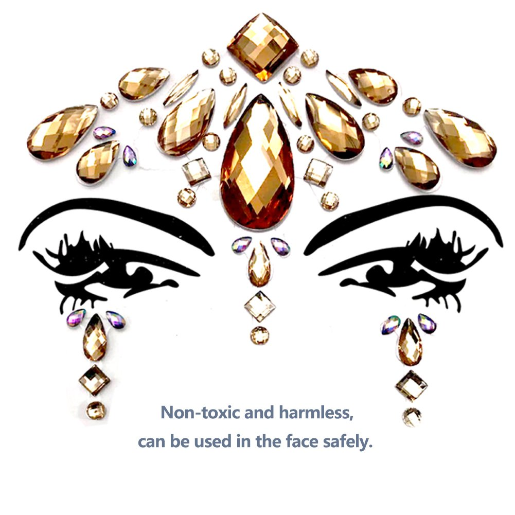 Face Gems Glitter - 8 Sets Mermaid Face Jewels Rhinestone Tattoo Face Glitter Bindi Crystals Rainbow Tears Face Gems Stickers Fit for Festival Party by LanGui (Image #6)
