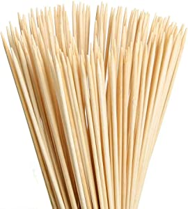 """MAXZONE 8"""" Natural Bamboo Skewers (0.16Inch/ 4mm Diameter) for BBQ, Marshmallows, Appetiser, Fruit Kabob,Cocktail,Shish Kabob, Chocolate Fountain,Grilling,Barbecue,Kitchen,Crafting and Party 100pcs"""