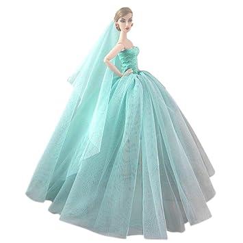 Elegante hada niña muñecas juguetes Vestido de vestidos de fiesta trajes ropa con cabeza de novia