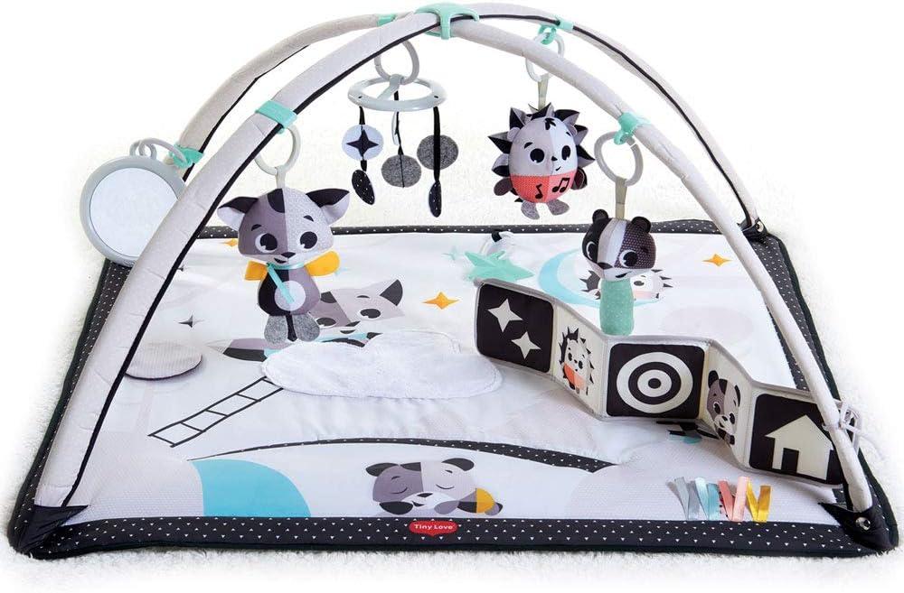Tiny Love GYMINI BLACK & WHITE Magical Tales - Manta de juegos para bebés con un diseño moderno y elegante, apta desde el nacimiento, con 18 actividades para el desarrollo cm, colores blanco y neg