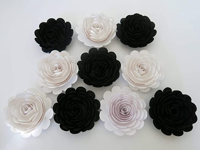 Magnificent Classic Black And White Wedding Roses 10 Large Paper Flowers 3 Blossoms Modern Bridal Party Bridesmaid Bouquet Diy Elegant Centerpiece Interior Design Ideas Gentotryabchikinfo