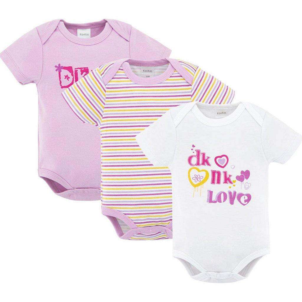Vine Baby Girls Bodysuits Short Sleeve Body Vests Cotton Babygrow 3-Pack for 0-12 Months C170505TZ002V