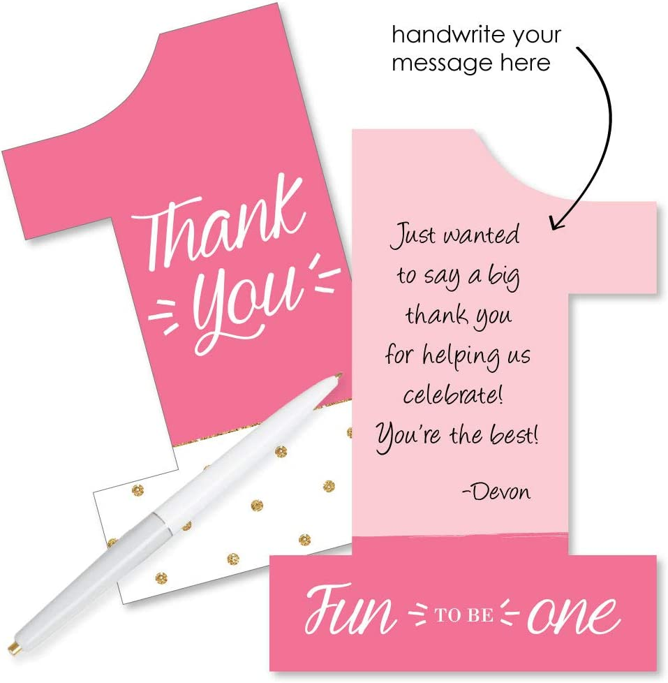 8st Birthday Girl - Fun to be One - Shaped Thank You Cards - First Birthday  Party Thank You Note Cards with Envelopes - Set of 82