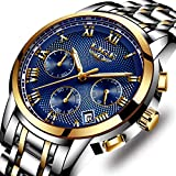 LIGE Mens Watches Waterproof Chronograph Stainless Steel Analog Quartz Watch Men Luxury Br