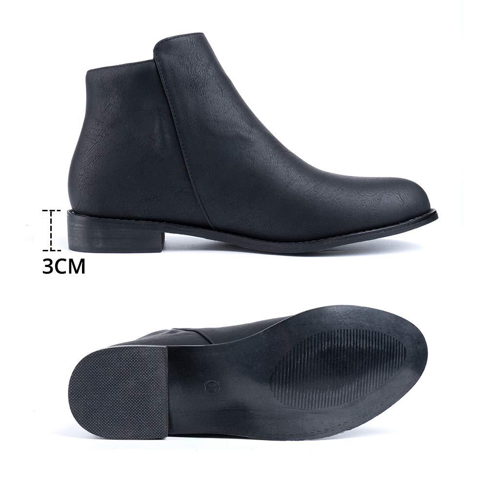 Botines Mujer Planos Chelsea Boots Cuero PU Tacon Bajo 3CM Botas Tobillo Cremallera Zapatos Oto/ño Elegantes Comodos Fiesta Negros Azul Marr/ón Caqui EU 35-43