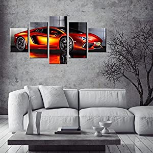 SUNFROWER ART-Large 60X32 Inch Various Colors Big Pictures Of Lamborghinis,Classic Car Canvas Wall Art Framed Orange Fast Car Metal Cool Sports Poster 5 Panel 3D Diamond Print Painting For Boys Room