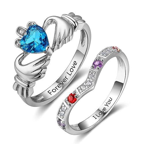 Lam Hub Fong Personalizado Claddagh promesa anillos Set simular Birthstones Juego de anillos de boda anillos