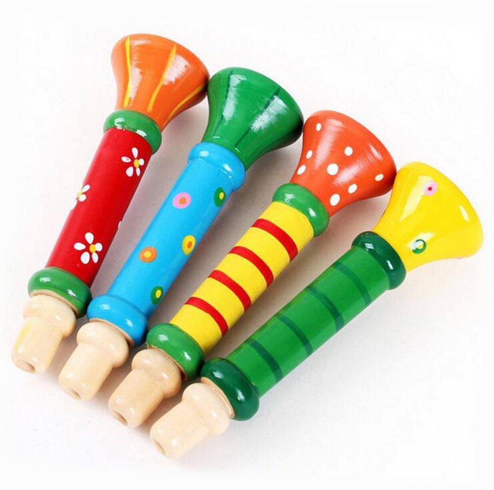 Demarkt De Madera Silbar Juguetes Pequeños para Niños Juguetes de Trompeta Jugando Silbato Instrumentos Educación Infantil Temprana (Color aleatorio)