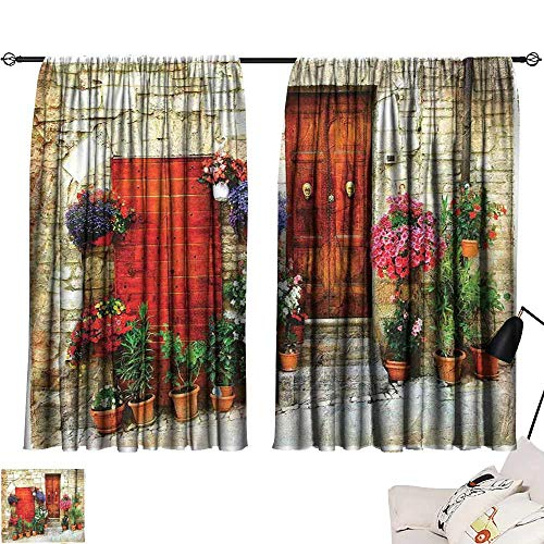 (Drapes for Living Room Tuscan Colorful Flowers Outside Home in Italian Hilltown Assisi Rustic Door Image Privacy Protection W55 xL39 Ivory Orange Violet)