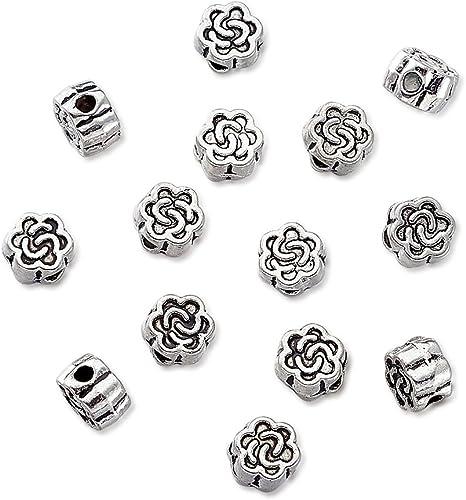 100pcs Tibetan Style Column Jewellery Beads DIY Craft Antique Silver 6mm