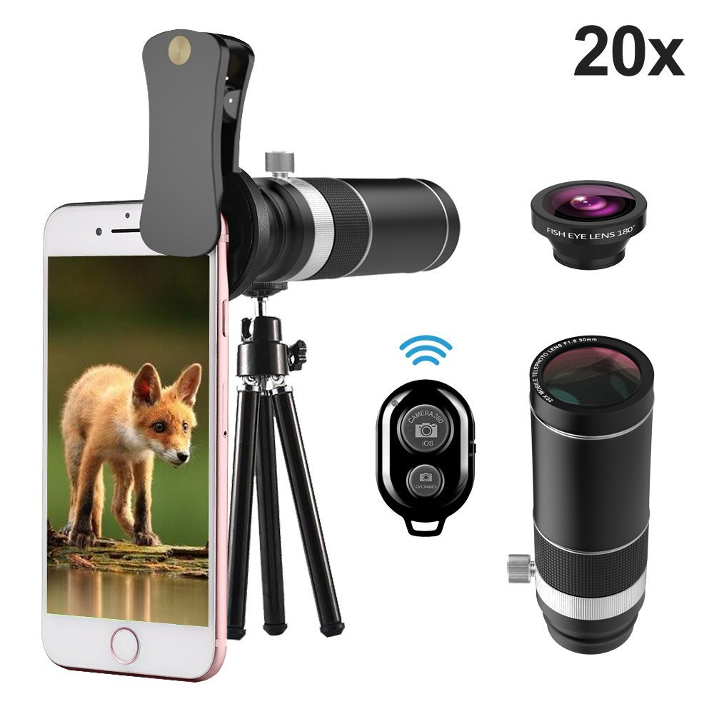 Cell Phone Telephoto Lens, UMTELE iPhone Camera Lens, 20X Telephoto Lens with 180° Fisheye Lens + Mini Tripod for iPhone 8/7/6s/6Plus/5, Samsung Galaxy, Android and Most Smartphones