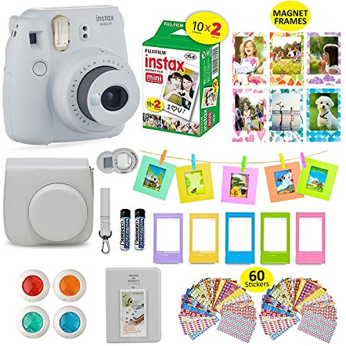 Fujifilm Instax Mini 9 Film Camera SMOKEY WHITE Instant Camera + 20 Instant Film Shots, Instax Case + 14 PC Instax Accessories Bundle, Fuji Instax Mini 9 Kit Gift Box, Albums, Lenses, Magnet Frames by Shutter