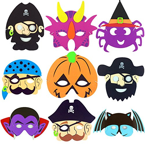 DUOLAIMENG 9Pcs Assorted Foam Animal Masks For Halloween EVA Mask Pumpkin Pirate Skull Bat Masquerade -