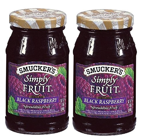 Smucker's Seedless Black Raspberry Simply Fruit Spread (2 Pack) 10 oz Jars (Seedless Black Raspberry Jam)