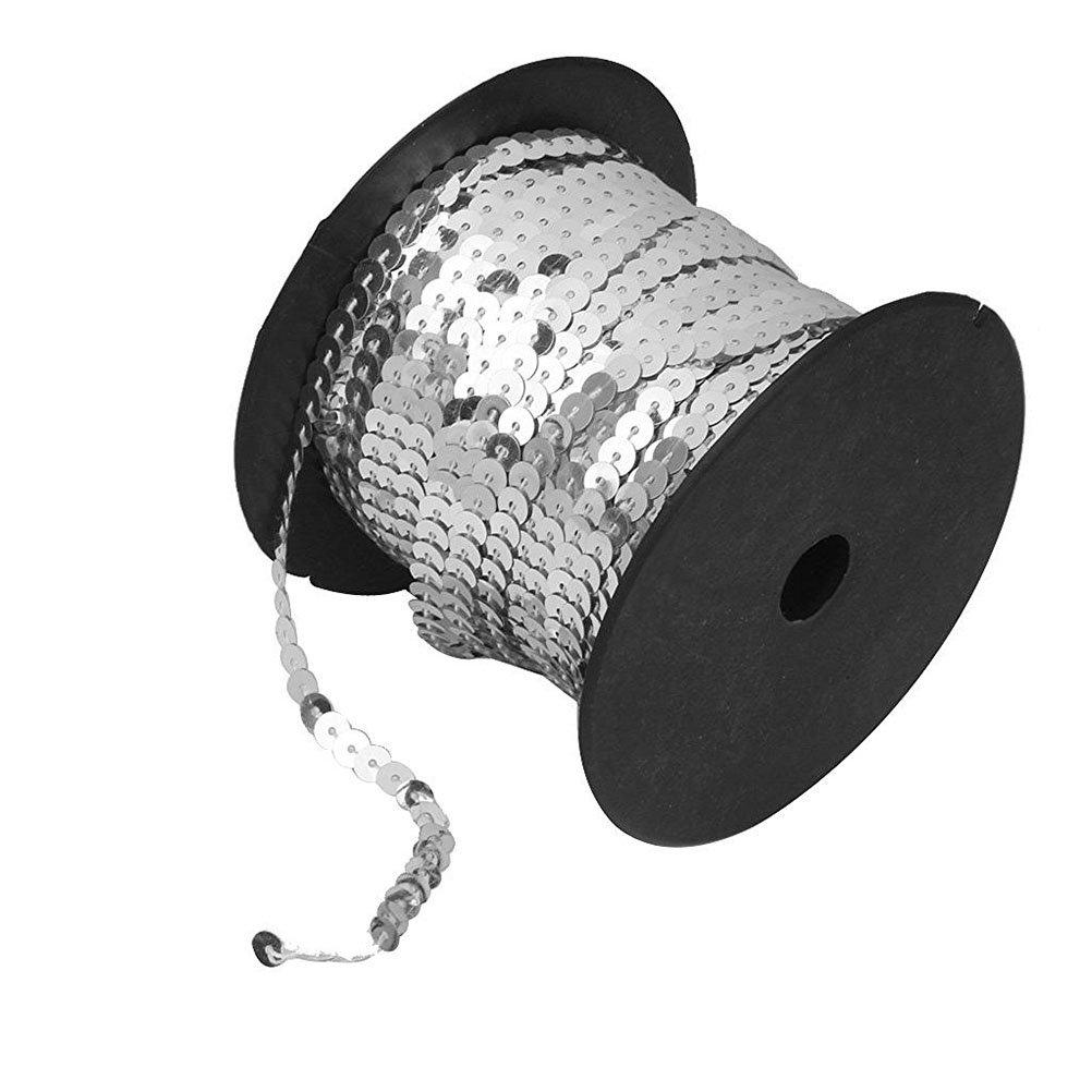 Pixnor–Lentejuelas cinta borten rollo plata 6mm