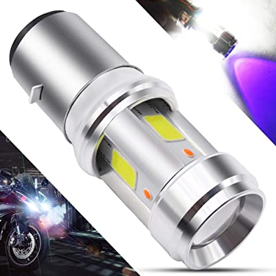 BA20D LED Motorcycle Headlight Bulb 3 COB+3528 LEDs 15Watts High Low Beam H6 LED Motorbike Headlamp Super Bright 2500Lumens Double Colors Blue & Xenon White.(1-Pack). (BA20D-3COB-3528): Automotive