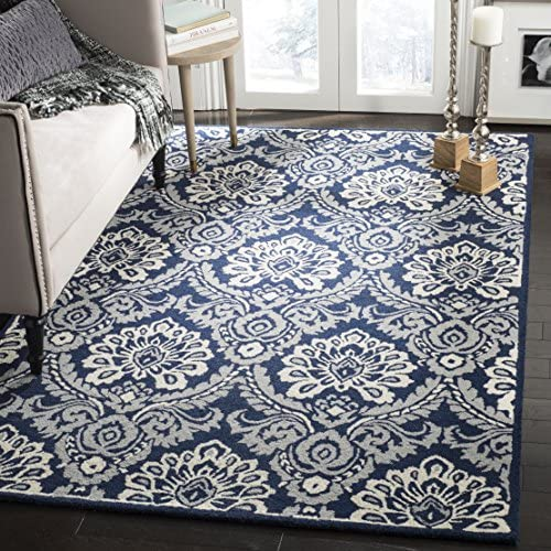 Safavieh Blossom Collection BLM106B Floral Vines Navy and Ivory Premium Wool Area Rug 8 x 10