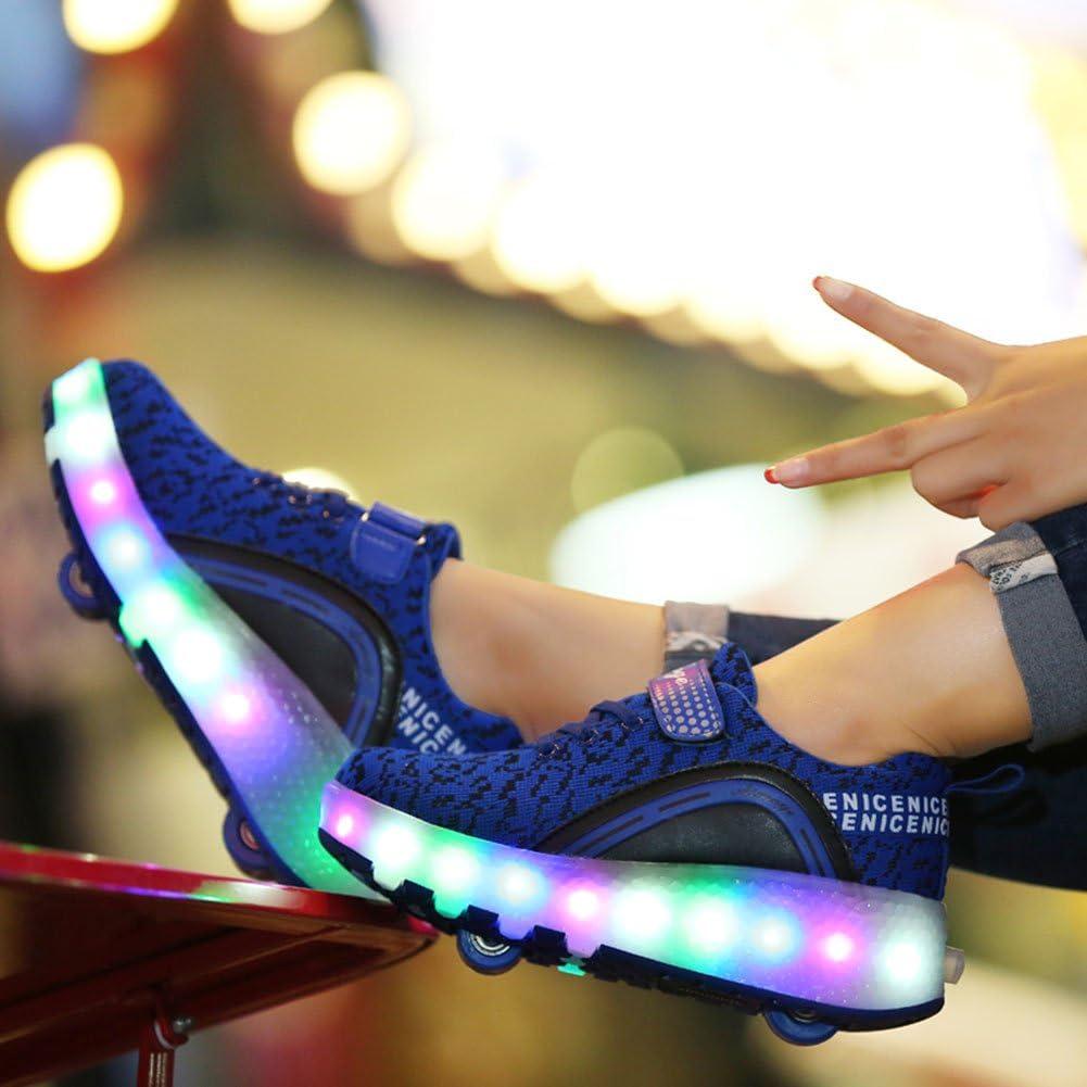 miaoshop Boy Girl LED Light Up Single Wheel Double Wheels Roller Wheel Skate Sneaker Sport Shoes Dance Boot