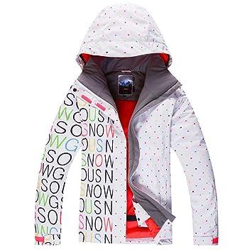 Zjsjacket Traje de Esqui Negro/Blanco Mujeres Chaquetas de Esquí Señora Snowboard Ropa 10 K Impermeable Traje de Invierno Traje de Nieve Abrigos: Amazon.es: ...