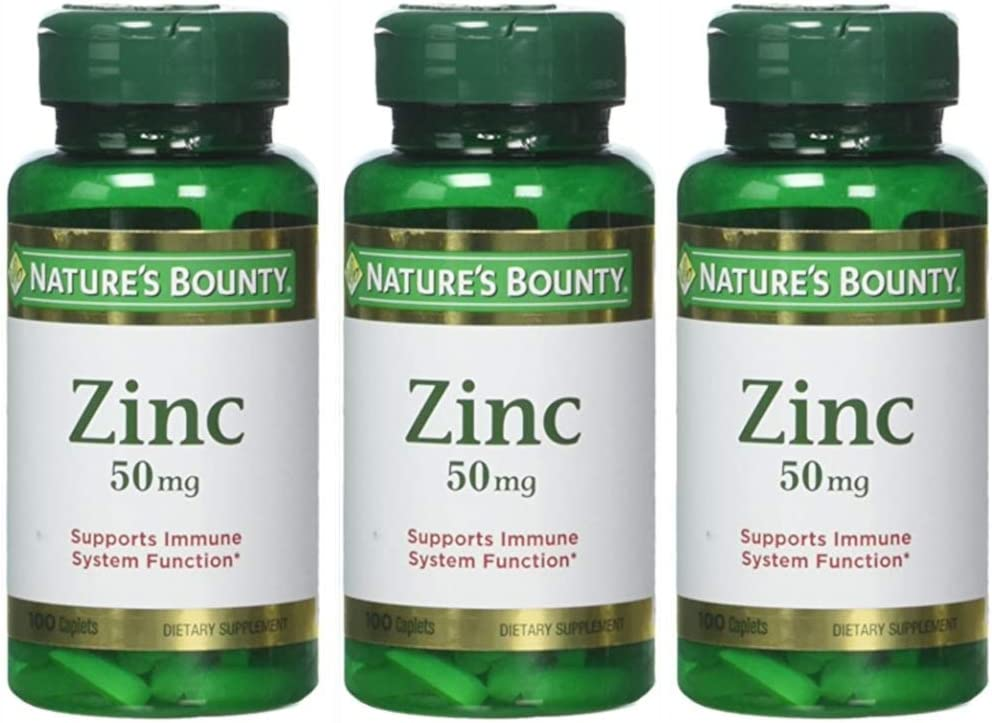 Nature's Bounty Zinc 50 mg Caplets 100 ea (Pack of 3): Health & Personal Care