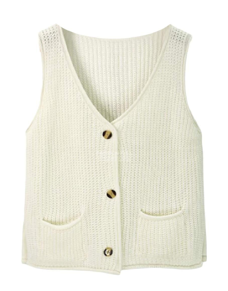 security Womens Coat V-Neck Button Up Sleeveless Knit Vest Sweater Waistcoat