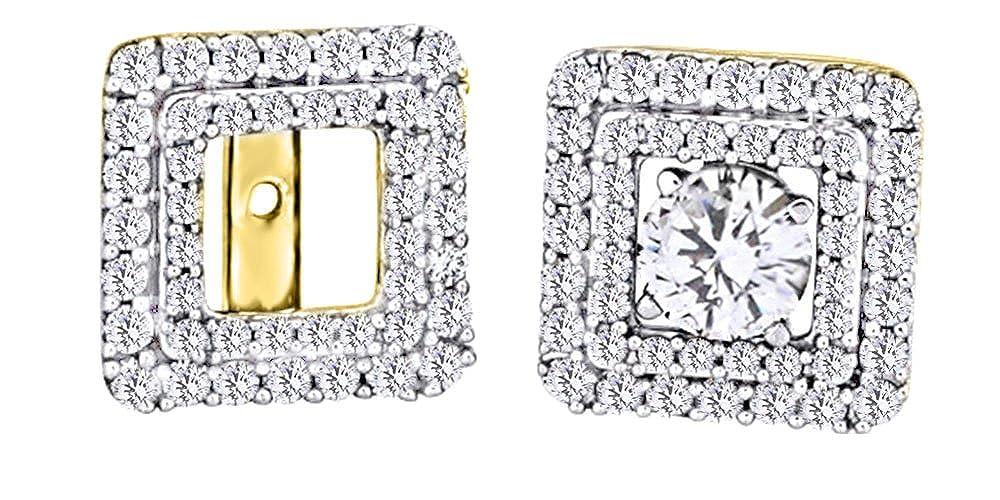 Ohrstecker, mit Diamant, quadratisch, Ohrstecker, 14 Karat 585 Weißszlig;Gold (0,62 Karat) 14 Karat (585) GelbGold