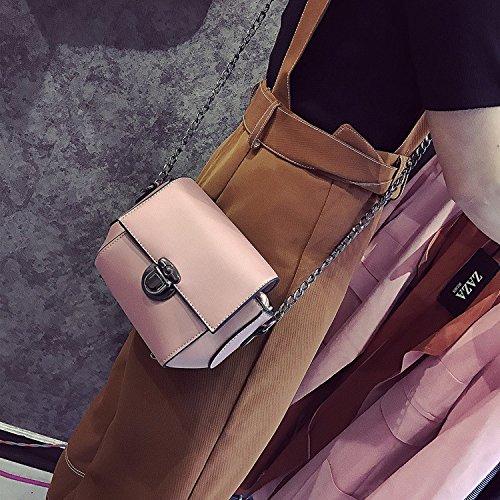Bolso de Hombro bolso pu Mat coreano mini cadena cuadrada pequeña Bolsa Bolsa Bolsa de hombro, verde Pink